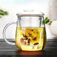 Vidrio hecho a mano pequeña tetera con filtro de té simple mañana Tazas con mango perfumado 500 ml SH123