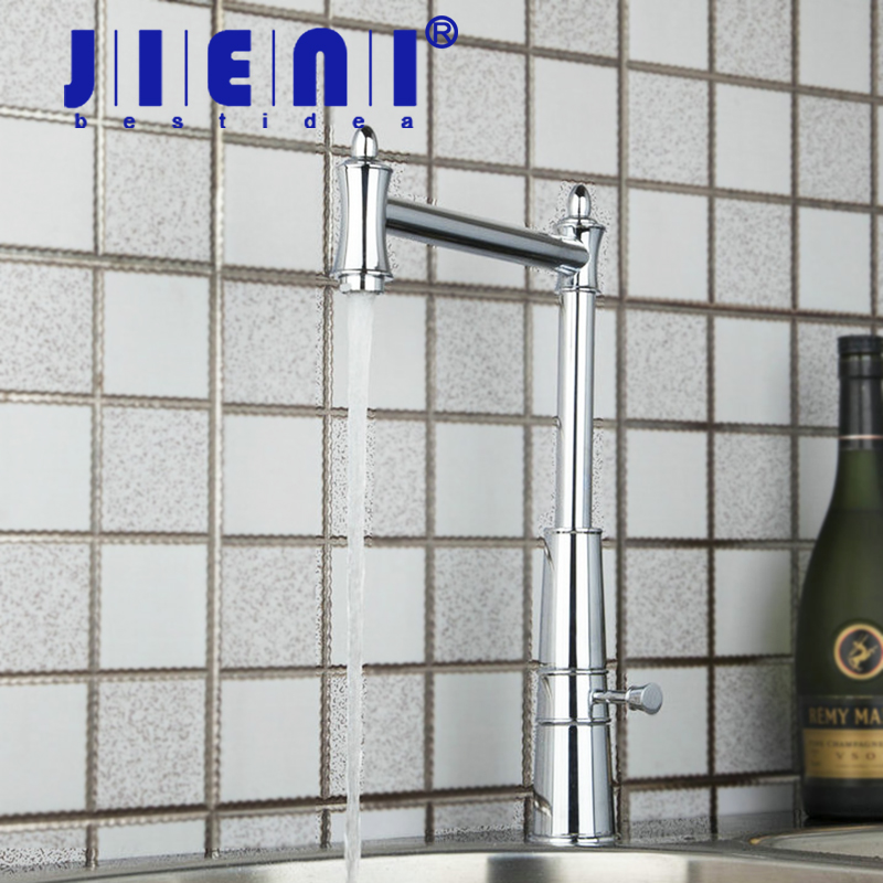 JIENI Kitchen Faucet Design Swivel 360 Chrome Basin Sink Water Tap Vessel Lavatory Tap Faucet 92453-1 Torneira Qnique chrome swivel spout spray kitchen single hole sink faucet 92282 basin sink water tap vessel lavatory faucets mixers tap