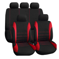 9 Set Full Car Seat Covers Universal Red For Lada And Other Car Polyester For Car