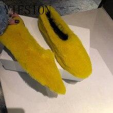 YIFSION New Fashion Real Fur Women Flats Shoes