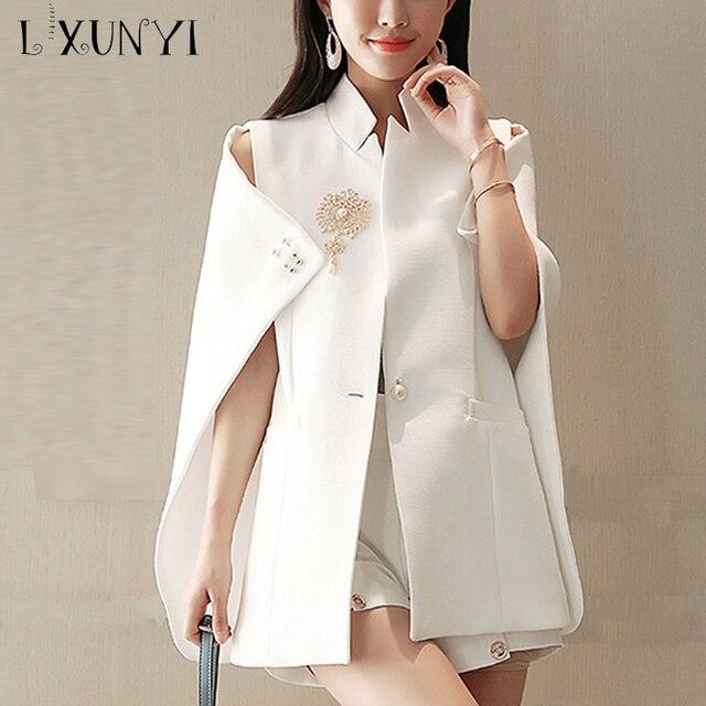 640db334 US $41.6 40% OFF|LXUNYI moda lato biały marynarka peleryna urząd Wear  kobiety Cape żakiet z dzianiny dresowej płaszcz jeden przycisk zroszony ...