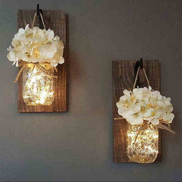 ins Rustic Mason Jar Wall Sconces with LED Fairy Lights & Flowers ...