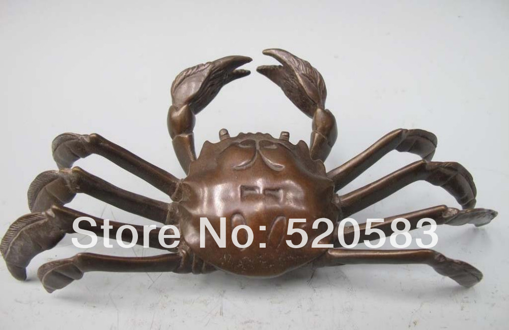 free Chinese folk Classical Pure Bronze carved Crabs Lovely Royal Decoration Statue fast|statue|statue decoration|statue bronze - title=