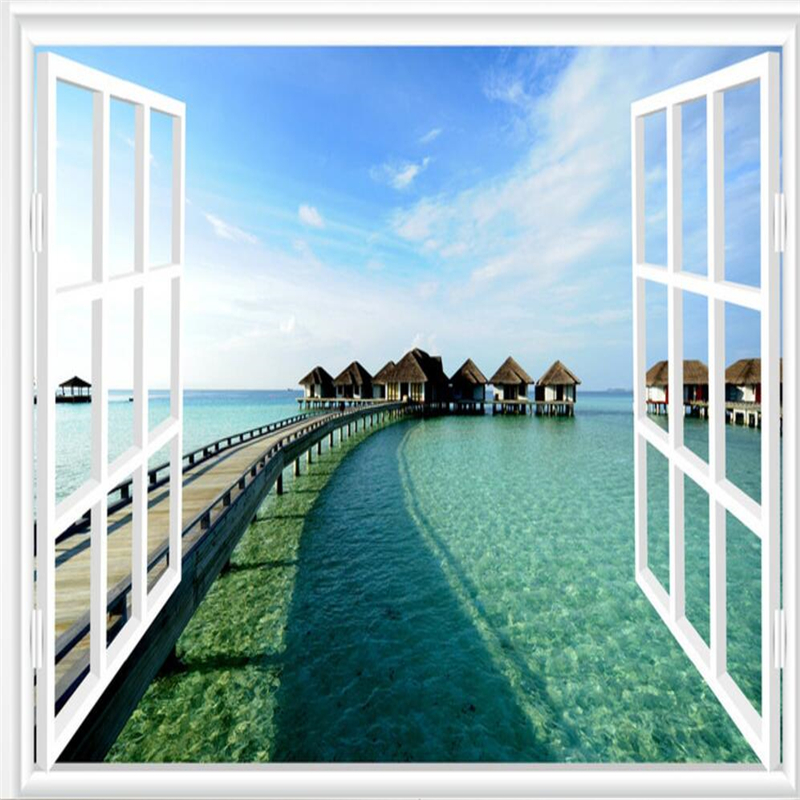 Beibehang  Large Custom Wallpaper 3D Window Sea View Mural TV Background Living Room Bedroom Wall Decorative