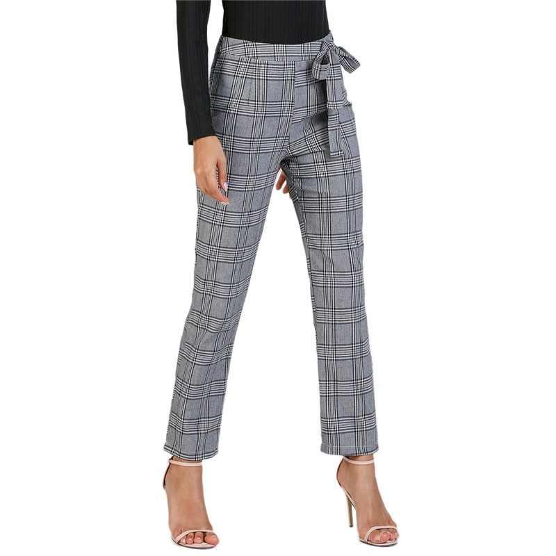 760c99b9b4178 Sheinside Women Pants Grey Casual Trousers Women Fashion Long Pants Autumn  Clothes 2018 Womens Clothing Waist