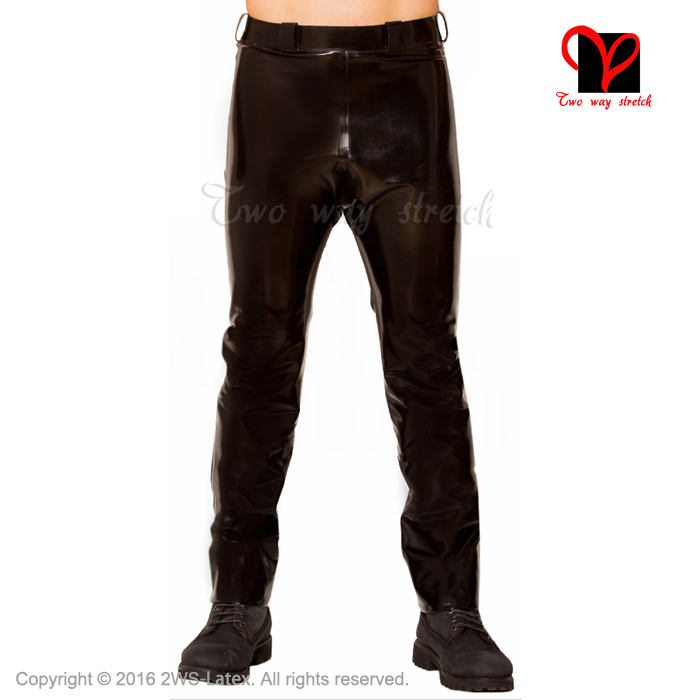Latex font b Jeans b font Rubber pants Military Footless trousers Black Gummi bottoms plus size