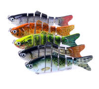 Lot 5pcs 10cm 4'' 18g Multi Jointed Fish Lures Bass Baits #6 Hook for Muskie Pike Bionic Artificial Swimbait Rankbait Tackle