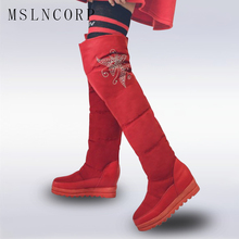 size 34-43 winter russia keep warm women snow boots thigh high waterproof shoes Height Increasing