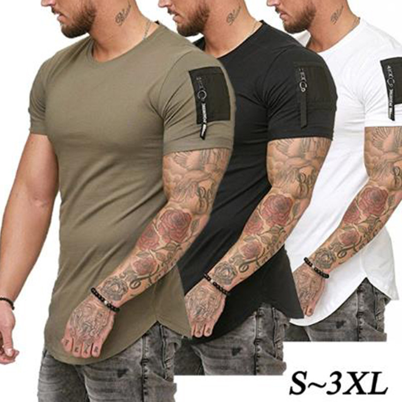 Short Sleeve Zipper Shoulder Streetwear Hip Hop Summer T Shirt Men Longline Curved Hem Tshirt Slim Funny T-shirt Plus Size S-3XL