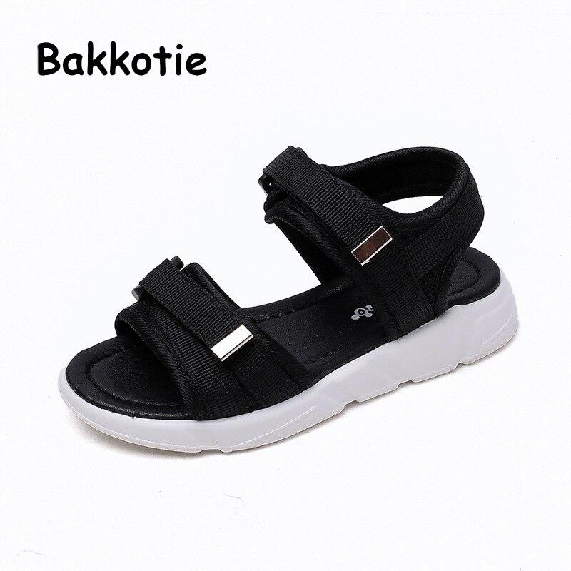 Bakkotie 2018 Summer New Fashion Baby Girl Beach Sandals Children Cloth Sport Flat Kid Boy Brand Black Soft Casual Shoes