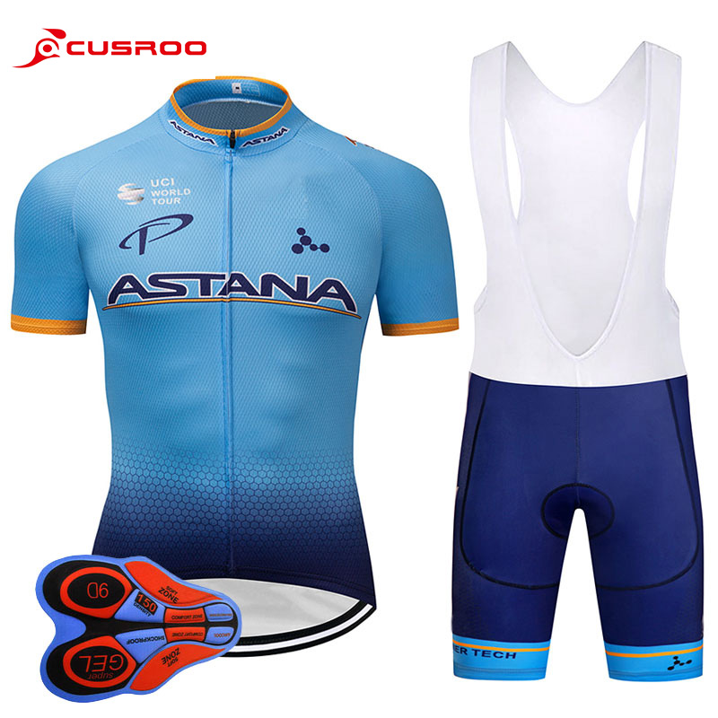 2018 TEAM ASTANA Cycling jersey gel bike shorts Ropa Ciclismo mens summer quick-dry PRO BICYCLING wear Maillot Culotte 9D GEL