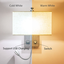 LED Wall Light USB Switch Sconce Bedroom Indoor Lighting Fixtures Up Wall Mounted E27 Bulb Hotel Cube Modern Loft Decor Lamp