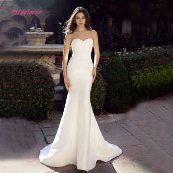 Luxury Pearls Sexy strapless sleeveless Mermaid Wedding Dress 2019 New Beach Bridal Gown Appliques Lace Vestido De Novia - Category 🛒 Weddings & Events