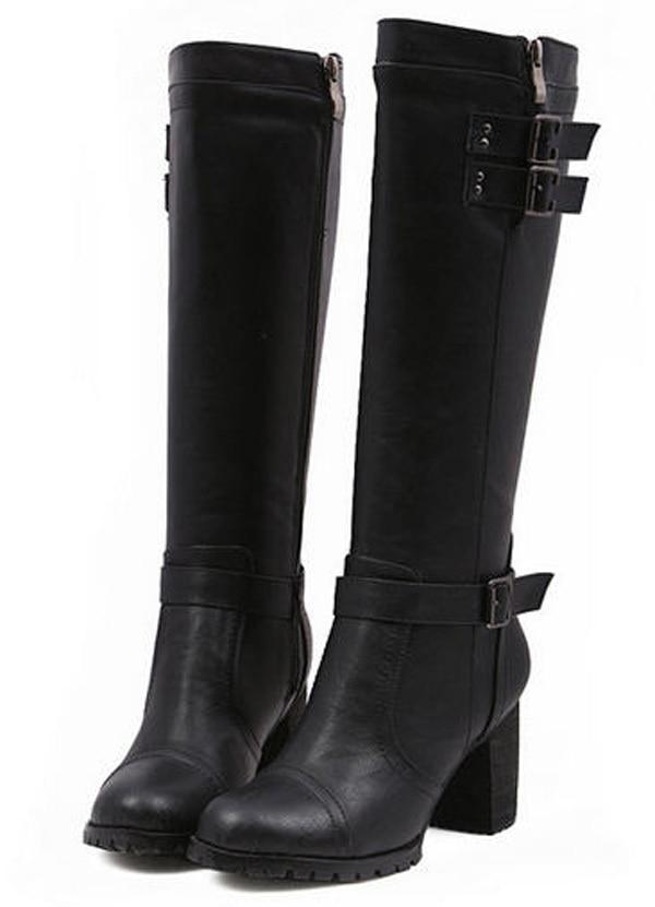 ФОТО 2014 women autumn winter European knee-high boots fashion thick heels round toe boot PU leather buckles zipper velvet shoes E577