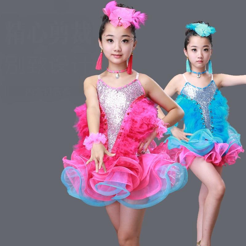 Latin Dance Dress For Girls Salsa Spandex Rumba Tango Children Ballroom Dresses Kids Samba Competition Cha Cha Sequin Feathers