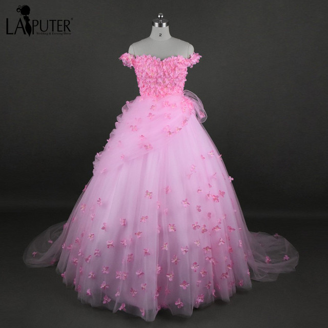 Romantic Sweetheart Ball Gown Tulle 3D Handmade Flowers Appliques ...