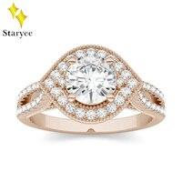 6,5 мм 1.0ct карат элегантное GH VS круглое двойное обручальное кольцо со светлым окаймлением обручальное кольцо в 14 K розовое золото 4 зубец для ж