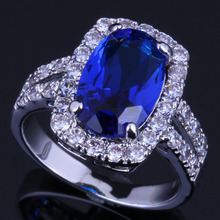 Prominent Oval Blue Cubic Zirconia White CZ 925 Sterling Silver Ring For Women V0643 alluring oval blue cubic zirconia 925 sterling silver ring for women v0419