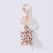 Rhinestone Tortoise Keychains Animal Turtle Key Rings Metal Crystal Chains Holder