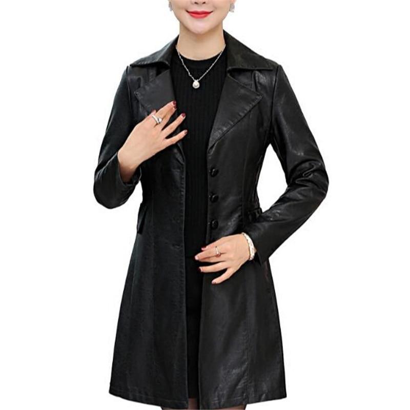 High Quality Pu Coat 2019 Autumn Women Leather Jacket Fashion Slim Long Female Leather Trench Plus Size 4Xl 5Xl 6Xl A3883