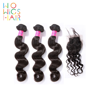 WoWigs Hair Burmese Remy Loose Wave 3 Bundles Deal With Top Lace Closure / Frontal Natural Color 1B