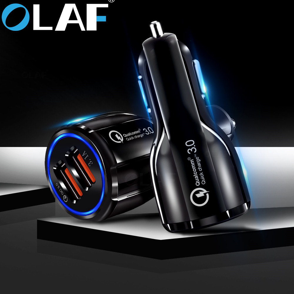 Olaf Car USB Charger Quick Charge 3.0 2.0 Mobile Phone Charger 2 Port USB Fast Car Charger For IPhone Samsung Tablet Car-Charger(China)
