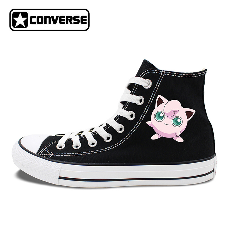 Converse All Star Shoes Anime Pokemon Jigglypuff Black White Canvas Sneakers Men Women Skateboarding Shoes Brand All Star anime converse all star skateboarding shoes boys girls pokemon snorlax white black canvas sneakers design 2 colors