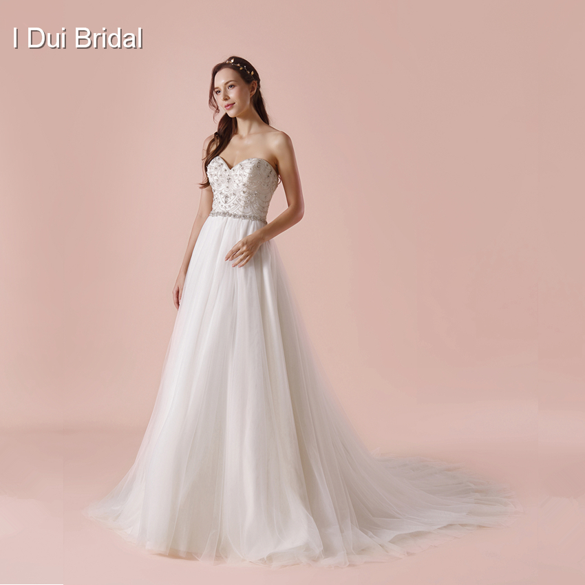 Sweetheart Jewelry Crystal Beaded Wedding Dress A line Simple ...
