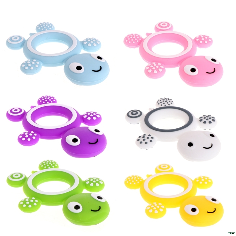 1Pcs Safety Baby Teether Tortoise Baby Kids Food Grade Silicone Soother Teether Teething Pacifier