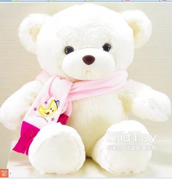 80 cm  white teddy bear plush toy scarf bear doll gift w4161 new creative plush bear toy cute lying bow teddy bear doll gift about 50cm