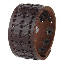 Fashion Wide Genuine Leather Bracelet for Men Brown Wide Cuff Bracelets & Bangle Wristband Vintage Punk Male Jewelry Gift цена