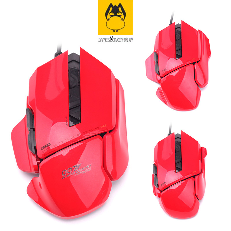 Red James Donkey 007 Custom Cool Appearance Computer Wired USB Wire Length 1.8 M Mechanical Big Mouse Laptop Game LOL Smart Mice lucky john croco spoon big game mission 24гр 004