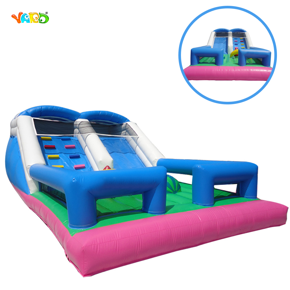 Inflatable Funny Double Slide with Jumping Bouncer for Kids free shipping by sea 9m 6m 6m commercial inflatable water slide inflatable jumping slide with pool for kids