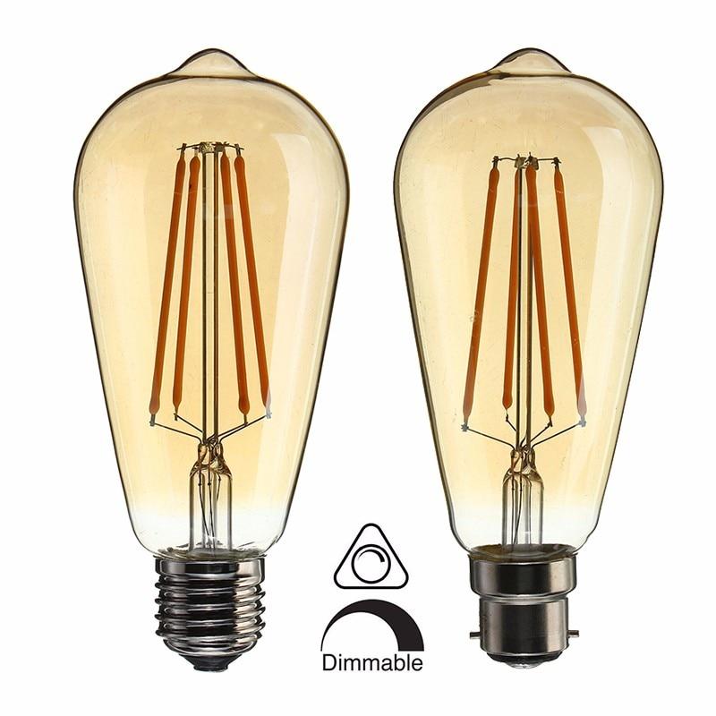 Vintage Edison ST64 LED Light Bulb Bulb E27 B22 Dimmable LED 4W Retro Squirrel Cage Filaments Lamp Bulb Warm White Ligthing 220V
