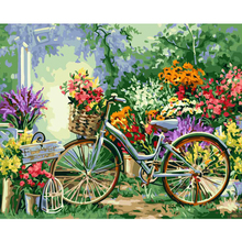 Framed Flower Bicycle DIY Oil Painting Pictures By Numbers On Canvas Wall Art For Living Room Home Decoration