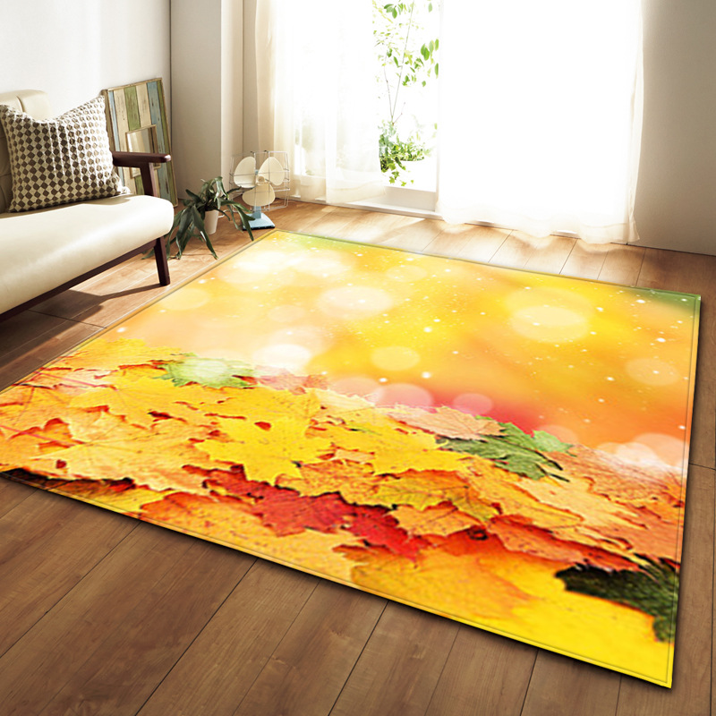 Style nordique grande taille tapis salon/chambre tapis flanelle tapis moderne 3D feuille d'érable impression maison zone tapis