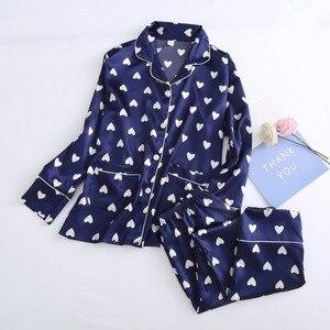 Image 5 - JRMISSLI 7 ピースシルク Pijamas Mujer ナイトスーツパジャマ女性パジャマセットパジャマパジャマファム愛のハート柄のスパースターのパジャマ