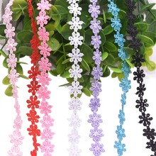 5yard/lot 12mm Lace Ribbon Cherry Flower Tape Embroidered Fabric DIY Wedding Decoration Trimmings Sewing Accessories