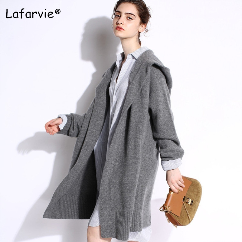 Lafarvie décontracté tricot à capuche Long Cardigan femme lâche Cardigan tricoté pull 2019 épais chaud hiver chandail femmes Cardigan