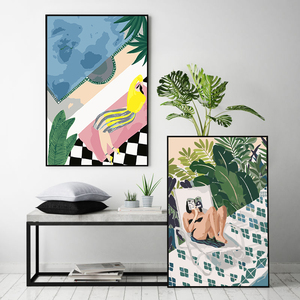 painting by numbers art paint by number Abstract modern Picasso style cat pond girl luxury Hand-filled color gift decoration(China)