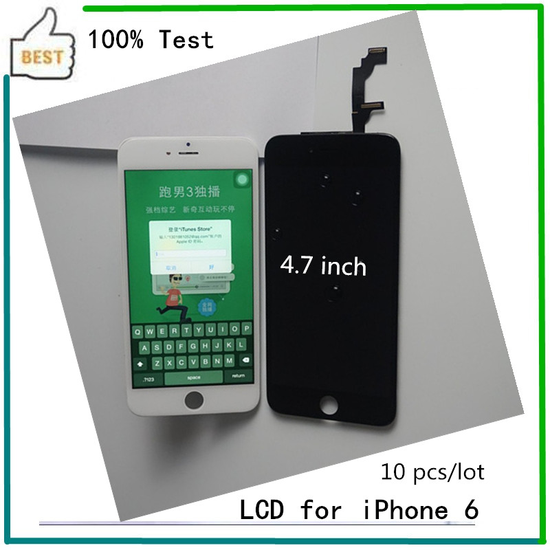 10 PCS LOT Top AAA Quality Black White 4 7 inch For iPhone 6 LCD Display