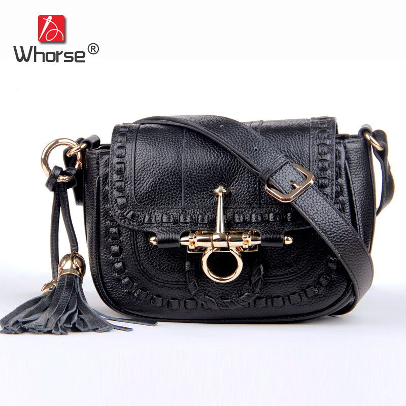 [WHORSE] Brand New Elegant Designer Tassel Genuine Cow Leather Women Messenger Bags Cross Body Lady Handbag Shoulder Bag W3370