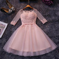New Arrival Tulle Appliques lace  Prom Party YIYI Cocktail Dresses 2016 Cap Sleeve vestidos de coctel robe cocktail CD045