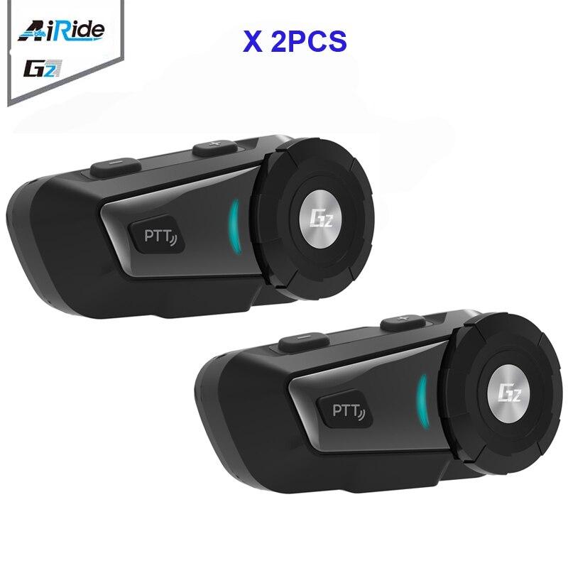 2PCS AiRide G2 500m Motorcycle Bluetooth Intercom Headset MP3 FM For Siri Command For Full Face Helmet Handsfree BT Interphone