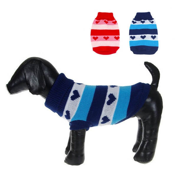 Small Dogs Cat Jackets Pet Heart Stripes Warm Sweater Knit Coats Puppy Outwear Costumes