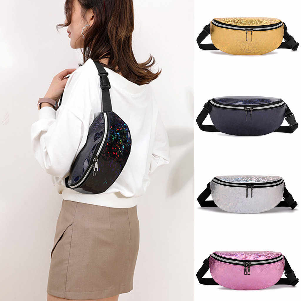 Casual lady laser shoulder diagonal bag sports chest bag Woman pocket Students Outdoor Zipper Messenger Waist Bag fanny pack