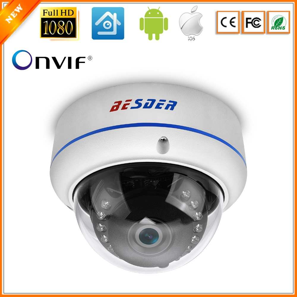 BESDER 2MP HD 1080P IP Camera H.265 Security Home 1080P indoor Explosion proof Metal Dome Cam CCTV Onvif P2P 48V POE RTSP XMEye-in Surveillance Cameras from Security & Protection