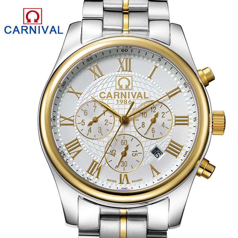 Carnival Classic Automatic Mechanical Watches Full Steel Waterproof Gold Watch Men Calendar Fashion Male Clock montre homme fngeen automatic watches waterproof leather rose gold mechanical watch men male clock luminous montre automatique homme relogio