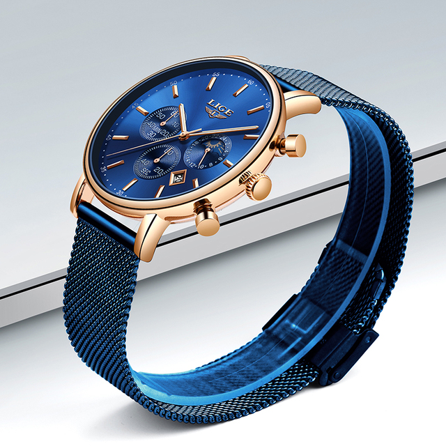 LIGE 2019 Women Fashion Blue Quartz Watch Lady Mesh Watchband High Quality Casual Waterproof Wrist Watch Women Watch Reloj Mujer
