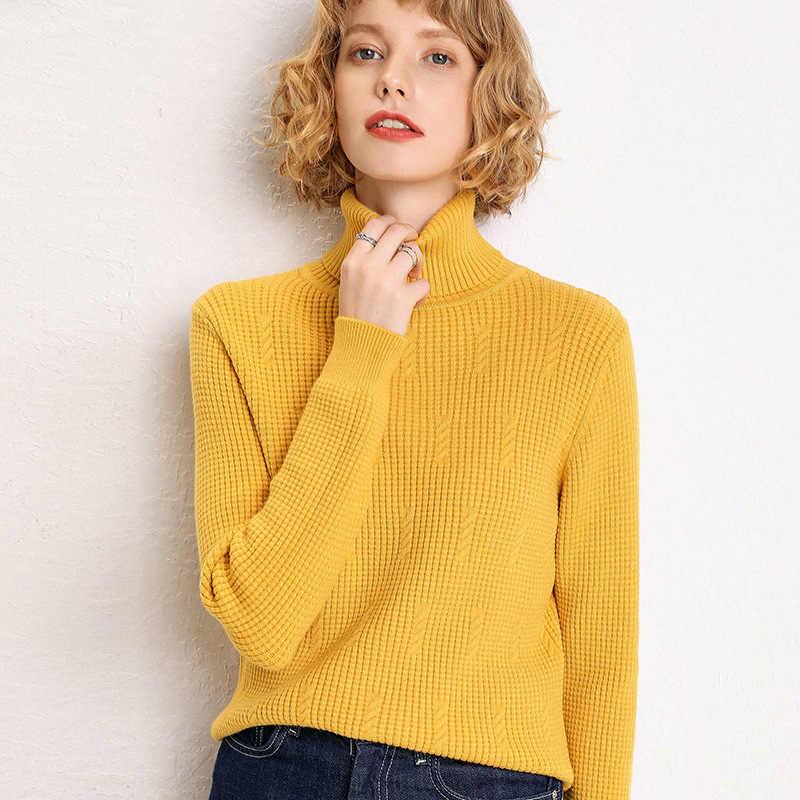 가을 캐시미어 스웨터 여성 겨울 터틀넥 두꺼운 양모 풀오버 2019 한국 니트 스웨터 여성 점퍼 여성 의류